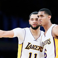 26 March 2016: Los Angeles Lakers guard Tyler Ennis (11) talks to Los Angeles Lakers guard Jordan Clarkson (6) during the Portland Trail Blazers 97-81 victory over the Los Angeles Lakers, at the Staples Center, Los Angeles, California, USA.