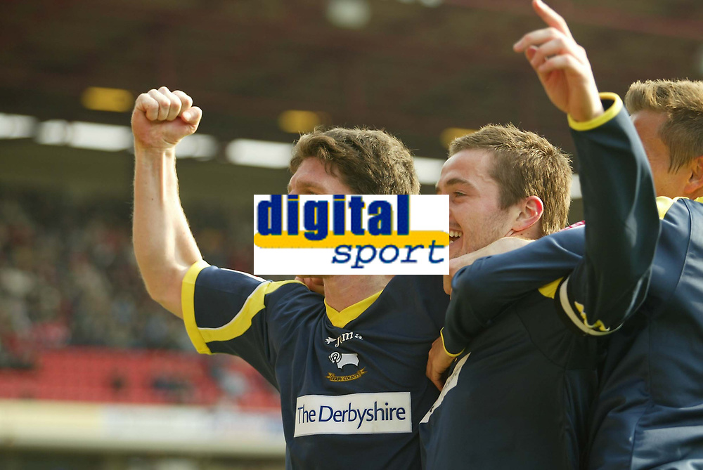 Photo: Aidan Ellis.<br /> Barnsley v Derby County. Coca Cola Championship. 31/03/2007.<br /> Derby's Jon Macken (L) and Matt Oakley celebrate the second goal