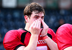 East Kilbride Pirates cuts a dejected figures after losing in the Under 19's BAFA Britbowl National League Final 2017 - Mandatory by-line: Robbie Stephenson/JMP - 26/08/2017 - AMERICAN FOOTBALL - Sixways Stadium - Worcester, England - East Kilbride Pirates v London Blitz - BAFA Britbowl National League Finals 2017