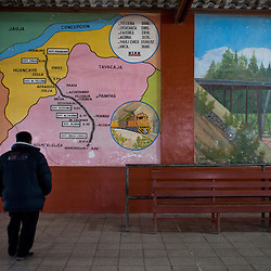 A man looks at the tren macho's route at Chilca Station in the city of Huancayo in the central highlands of Peru.
