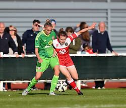 Sunderland AFC Ladies' Kiera Ramshaw tussles with Bristol Academy's Frankie Brown - Mandatory by-line: Paul Knight/JMP - 25/07/2015 - SPORT - FOOTBALL - Bristol, England - Stoke Gifford Stadium - Bristol Academy Women v Sunderland AFC Ladies - FA Women's Super League