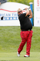 June 22, 2018 - Madison, WI, U.S. - MADISON, WI - JUNE 22: John Daly tees off on the ninth tee during the American Family Insurance Championship Champions Tour golf tournament on June 22, 2018 at University Ridge Golf Course in Madison, WI. (Photo by Lawrence Iles/Icon Sportswire) (Credit Image: © Lawrence Iles/Icon SMI via ZUMA Press)