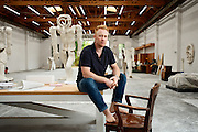 Portrait of artist Thomas Houseago in his Los Angeles studio.