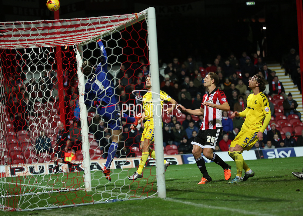 Closet chance in the first half during the Sky Bet Championship match between Brentford and Middlesbrough at Griffin Park, London, England on 12 January 2016. Photo by Matthew Redman.