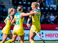 AMSTELVEEN - Jodie Kenny (Austr.) scoort. . Semi Final Pro League  women, Argentina-Australia (1-1) . Austr. wns. COPYRIGHT KOEN SUYK