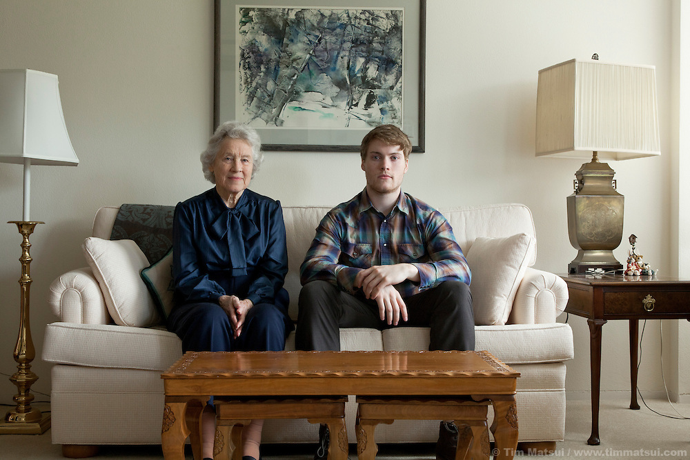 Grant Patterson and his grandmother, Marguerite Corbally, at her home in Seattle, Washington.