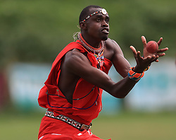 Maasai Warriors' cricket team play against Cavaliers & Carrington Cricket Club during their UK tour to raise awareness of gender inequality, the End FGM Campaign, hate crime, modern slavery, conservation and promoting their culture and country, Kenya