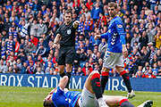 Penaty! - Referee Don Robertson points to the spot during the Ladbrokes Scottish Premiership match between Rangers and Aberdeen at Ibrox, Glasgow, Scotland on 27 April 2019.
