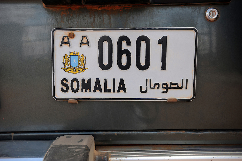 A Somali number plate on a land cruiser on the Kenyan-Somali border. 26/6/2008