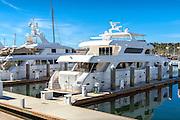 San Pedro, Cabrillo Marina, Yachts, Sailboats, Motorboats, Powerboats, Docked, Moored, Tied up