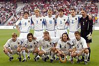 Fotball<br /> EM-kvalifisering 07.06.2003<br /> Sveits v Russland<br /> Russland sitt lag.<br /> RUSSIA TEAM ( BACK ROW LEFT TO RIGHT: EUGENI ALDONIN / IGOR YANOVSKI / DENIS POPOV / YURI KOVTUN / SERGEI IGNASHEVITCH / SERGEI OVCHINNIKOV . FRONT ROW: ANDREI KARIAKA / ROLAN GUSEV / VASSILI BEREZOUTSKI / ALEXEI SMERTIN / SERGEI SEMAK ).<br /> Foto: Jean-Marie Hervio, Digitalsport
