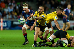 March 30, 2018 - Melbourne, VIC, U.S. - MELBOURNE, AUSTRALIA - MARCH 30 : Gareth Evans of the Wellington Hurricanes  clears the ball from the pack during Round 7 of the Super Rugby Series between the Melbourne Rebels and the Wellington Hurricanes on March 30, 2018, at AAMI Park in Melbourne, Australia. (Photo by Jason Heidrich/Icon Sportswire) (Credit Image: © Jason Heidrich/Icon SMI via ZUMA Press)