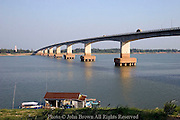 The Japanese Friendship Bridge, donated by Japan, spans the Mekong River in Kampong Cham, Cambodia.