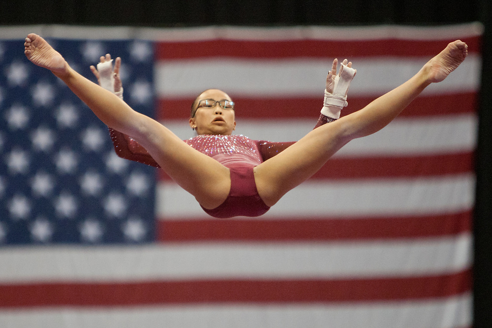 USA Gymnastics GK Classic - Schottenstein Center, Columbus, OH - July 28th, 2018. Morgan Hurd  competes on the bars  at the Schottenstein Center in Columbus, OH; in the USA Gymnastics GK Classic in the senior division. Simone Biles won the allround with Riley McCusker second and Morgan Hurd third. - Photo by Wally Nell/ZUMA Press