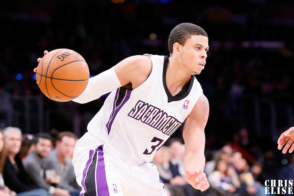 28 February 2014: Sacramento Kings point guard Ray McCallum (3) is seen during the Los Angeles Lakers 126-122 victory over the Sacramento Kings at the Staples Center, Los Angeles, California, USA.