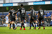 Aston Villa players celebrate a goal from Aston Villa midfielder Albert Adomah (37) (score 1-1) during the EFL Sky Bet Championship match between Queens Park Rangers and Aston Villa at the Loftus Road Stadium, London, England on 18 November 2017. Photo by Andy Walter.