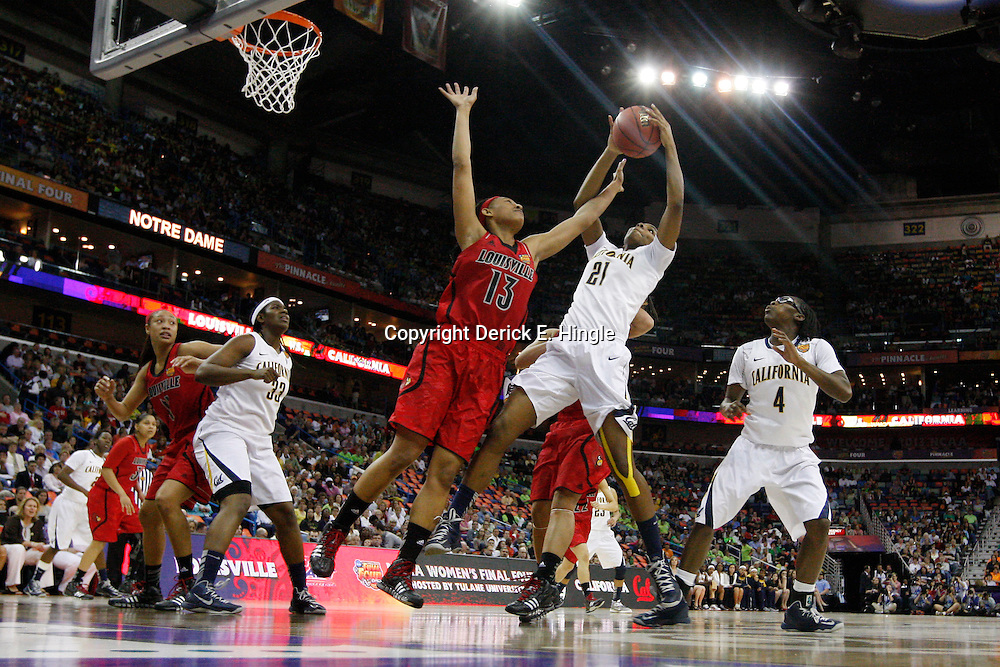 April 7, 2013; New Orleans, LA, USA; California Golden Bears forward Reshanda Gray (21) and Louisville Cardinals forward Cortnee Walton (13) fight for a rebound during the first half in the semifinals during the 2013 NCAA womens Final Four at the New Orleans Arena. Mandatory Credit: Derick E. Hingle-USA TODAY Sports