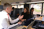 Handelsblatt US Roadshow.<br /> Acela train  from Washington DC to NYC<br /> <br /> Handelsblatt team from (left to right) Philipp Fleischmann, Chris Cermak,  Franziska Scheven and Lea Steinacker.<br /> <br /> Gabor Steingart, CEO of the Handelsblatt Publishing Group is in the US to introduce the english language Handelsblatt Global Edition.