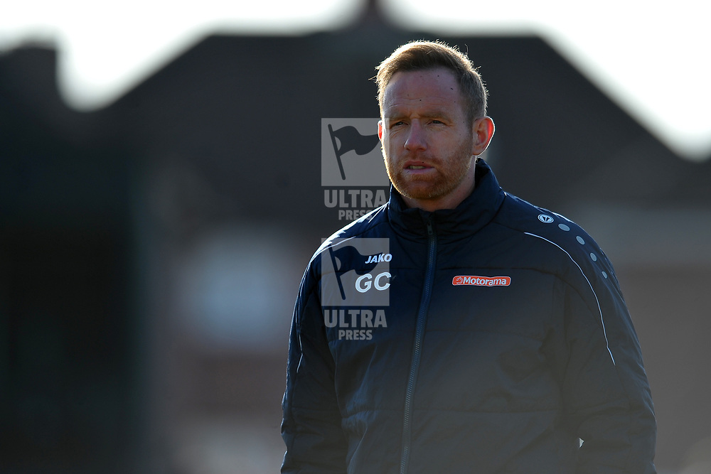 TELFORD COPYRIGHT MIKE SHERIDAN Telford boss Gavin Cowan  during the Vanarama Conference North fixture between Spennymoor Town and AFC Telford United at Brewery Field, Spennymoor on Saturday, February 29, 2020.<br /> <br /> Picture credit: Mike Sheridan/Ultrapress<br /> <br /> MS201920-048