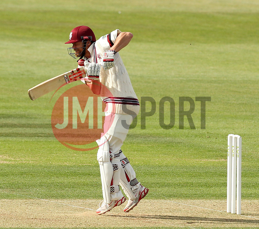Somerset's James Hildreth is hit by a short ball from Hampshire's Jackson Bird - Photo mandatory by-line: Robbie Stephenson/JMP - Mobile: 07966 386802 - 21/06/2015 - SPORT - Cricket - Southampton - The Ageas Bowl - Hampshire v Somerset - County Championship Division One