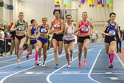 USATF Masters Indoor Championship, women's mile start, 40-44 age-group, Bishop wins
