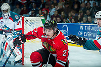 KELOWNA, CANADA - APRIL 8: Brad Ginnell #27 of the Portland Winterhawks gets tangled up with Lucas Johansen #7 of the Kelowna Rockets on April 8, 2017 at Prospera Place in Kelowna, British Columbia, Canada.  (Photo by Marissa Baecker/Shoot the Breeze)  *** Local Caption ***