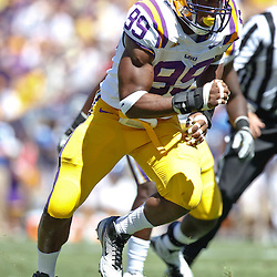 October 1, 2011; Baton Rouge, LA, USA;  LSU Tigers defensive end Sam Montgomery (99) against the Kentucky Wildcats during the first half at Tiger Stadium.  Mandatory Credit: Derick E. Hingle-US PRESSWIRE / © Derick E. Hingle 2011