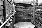 Interior of showers, at Glastonbury, 1989.