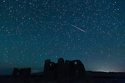 Meteors from the annual Perseid meteor shower fall from space over ruins in Fort Churchill State Historic Park in Silver Springs, Nev. on Sunday, August 12, 2012. Fort Churchill was built in 1861 by the United States army to protect early settlers. <br /> (Photo by Kevin Clifford)
