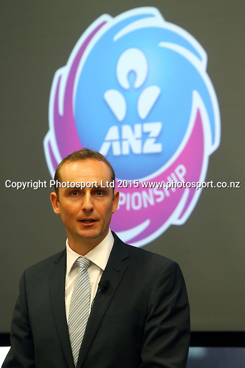 General Manager of the ANZ Championship, Andy Crook, ANZ Championship netball season launch, ANZ Building, Auckland. Tuesday 17 February 2015. Copyright Photo: William Booth / www.photosport.co.nz