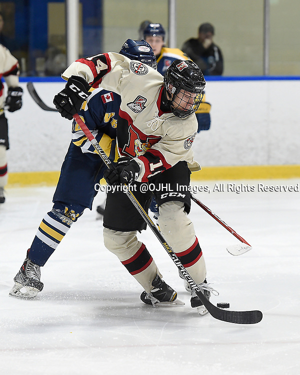 WHITBY, ON - Oct 9, 2015 : Ontario Junior Hockey League game action between Newmarket and Whitby, Marco Bozzo #14 of the Newmarket Hurricanes battles for control during the third period.<br /> (Photo by Andy Corneau / OJHL Images)