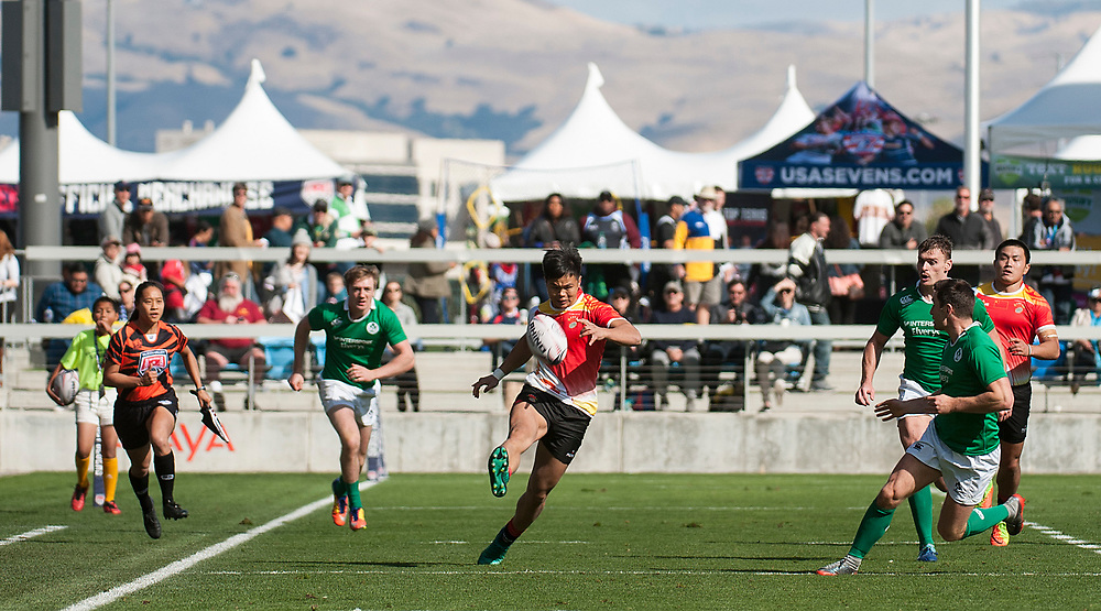 Ireland play China in the bowl quarter final round of the Silicon Valley Sevens in San Jose, California. November 5, 2017. <br /> <br /> By Jack Megaw.<br /> <br /> <br /> <br /> www.jackmegaw.com<br /> <br /> jack@jackmegaw.com<br /> @jackmegawphoto<br /> [US] +1 610.764.3094<br /> [UK] +44 07481 764811