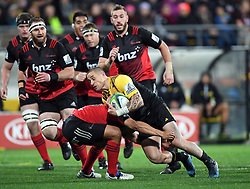 Hurricanes TJ perenara takes on the Crusaders in Super Rugby match at Westpac Stadium, Wellington, New Zealand, Saturday, July 15, 2017. Credit:SNPA / Ross Setford  **NO ARCHIVING""
