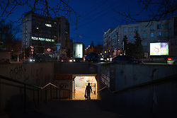 Crimea one day before the referendum. Pedestrians walks through an underground street at dusk in Simferopol, . Saturday, 15th March 2014. Picture by Daniel Leal-Olivas / i-Images