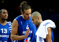Boris Diaw of France, Joakim Noah of France and Tony Parker of France during final basketball game between National basketball teams of Spain and France at FIBA Europe Eurobasket Lithuania 2011, on September 18, 2011, in Arena Zalgirio, Kaunas, Lithuania. (Photo by Vid Ponikvar / Sportida)