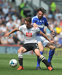 DERBY RICHARD KEOGH HOLDS OF IPSWICH JONATHAN DOUGLAS, Derby County v Ipswich Town, Championship, The ipro Stadium, Saturday 7th MAY 2016<br /> Photo:Mike Capps