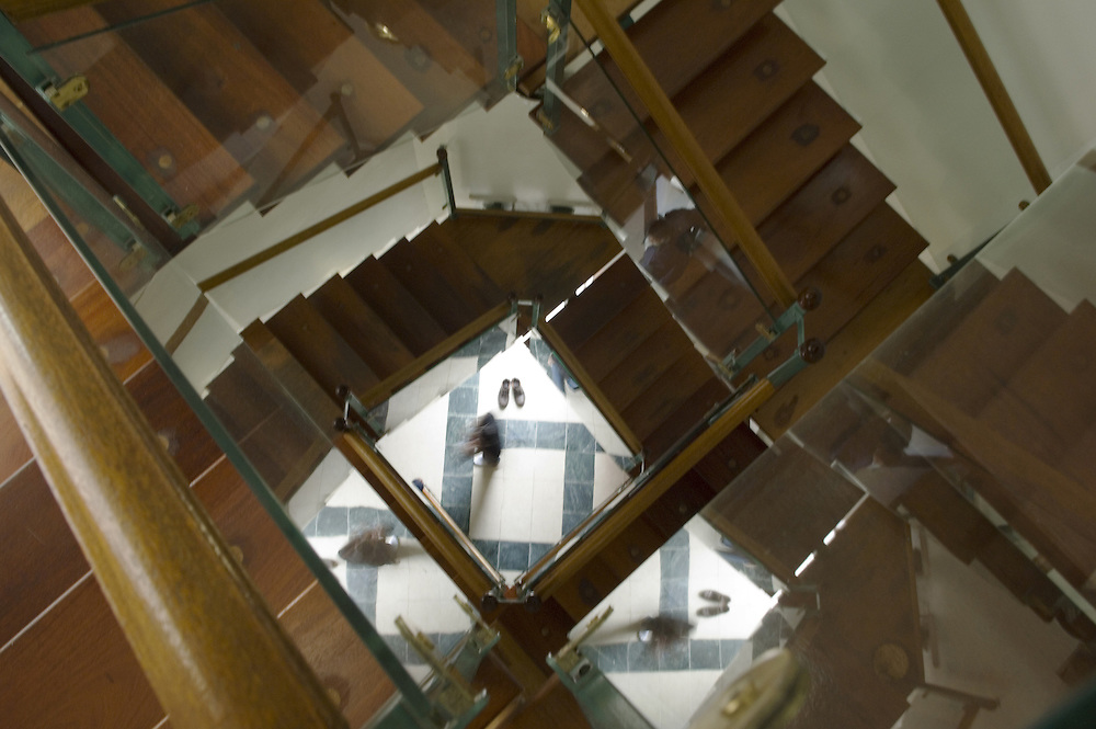 The main staircase at Central Mosque, Edinburgh. , reflections in the glass panels<br />