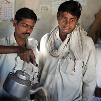 A tea-stall in Adgaon Budruk village...Photo: Tom Pietrasik.January 2011.Maharashtra, India