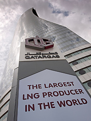 Headquarters office tower of Liquid Natural Gas LNG energy company Qatargas in Doha Qatar