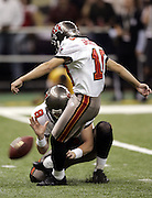 NEW ORLEANS - OCTOBER 10:  Kicker Martin Gramatica #10 of the Tampa Bay Buccaneers kicks one of two field goals against the New Orleans Saints at the Louisiana Superdome on October 10, 2004 in New Orleans, Louisiana. The Bucs defeated the Saints 20-17. ©Paul Anthony Spinelli *** Local Caption *** Martin Gramatica