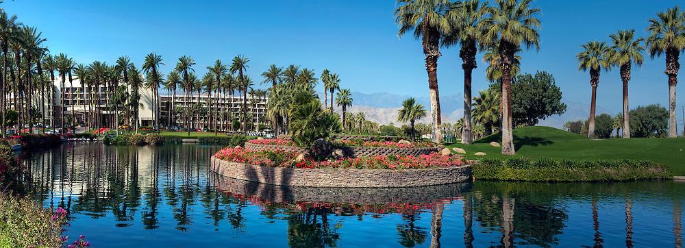 JW Marriott, Hotel, Resort, Palm Desert CA, Desert, Golf Resort, Spa, Green, Palm Trees, Panorama, California, Coachella Valley, USA