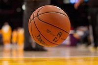 22 March 2013: The Spalding NBA basketball bounces during a timeout during the Washington Wizards 103-100 victory over the Los Angeles Lakers at the STAPLES Center in Los Angeles, CA.