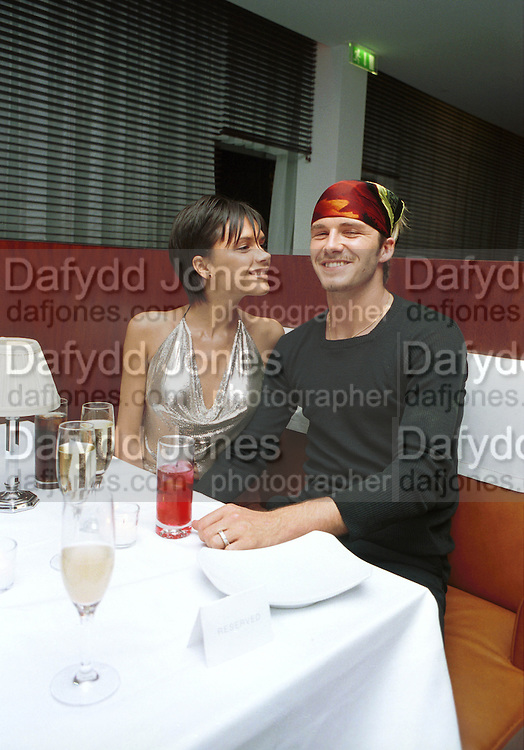 Posh Spice & David Beckham.Jade Jagger party. St. Martin's Hotel, London. 20/9/99.  © Copyright Photograph by Dafydd Jones 66 Stockwell Park Rd. London SW9 0DA  Tel 0171 733 0108