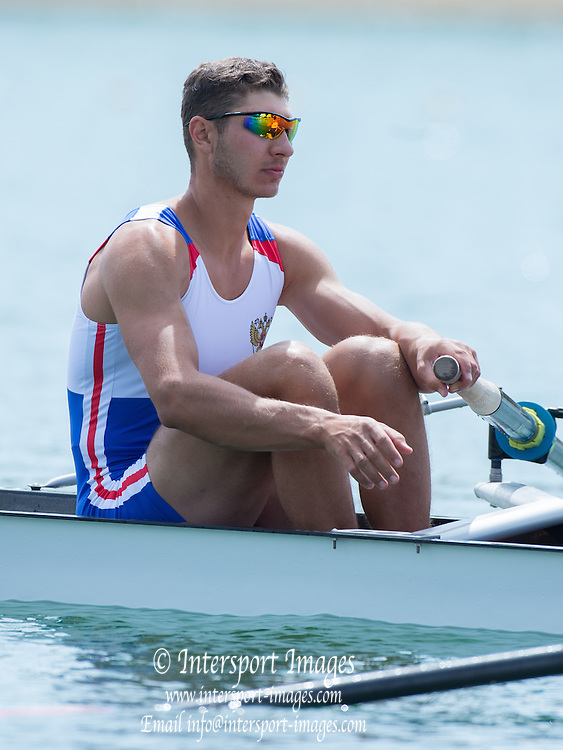 Belgrade, SERBIA,  RUS M4-, Dmitrii GOLOVIN, at the start ,2014 FISA European Rowing Championships. Lake Sava. <br /> <br /> <br /> 10:47:42  Friday  30/05/2014<br /> <br /> [Mandatory Credit; Peter Spurrier/Intersport-images]