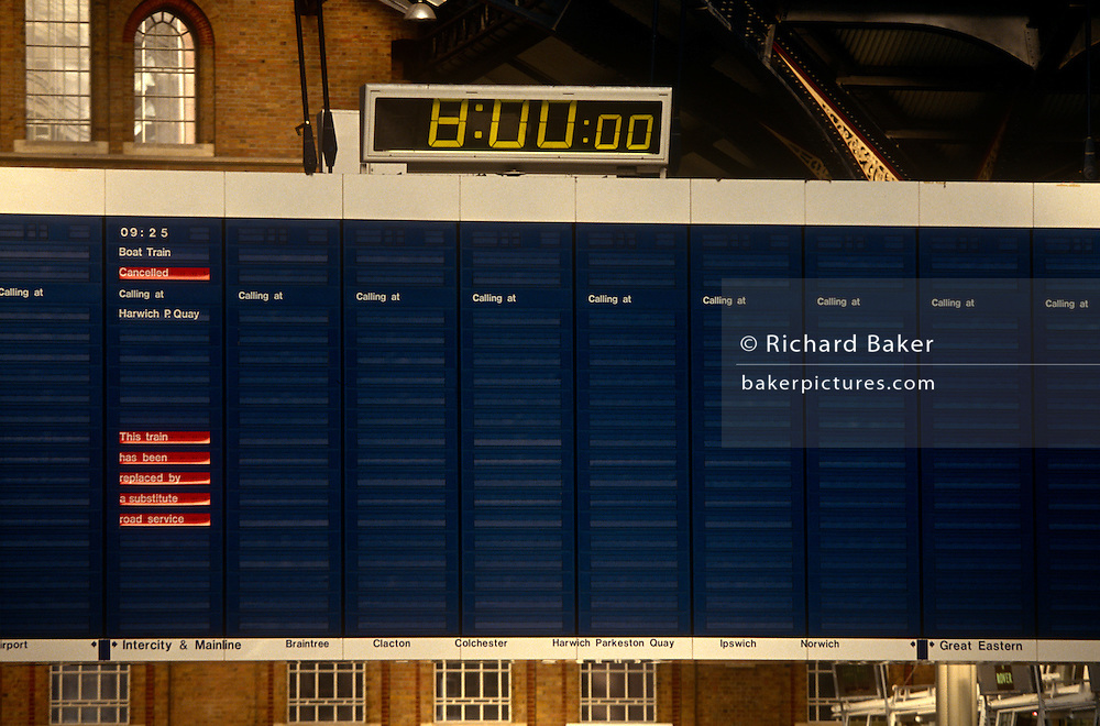 It is precisely 8am on a weekday morning in 1993 when ordinarily, commuters would be filling this station concourse at Liverpool Street in central London and train services arriving and departing every minute throughout the day. There are however, no rail journeys this day because a national rail strike has been called by the rail unions. The information board is blank, displaying neither trains or platforms. The cancellations have disrupted thousands of commuter journeys both to and from the capital.
