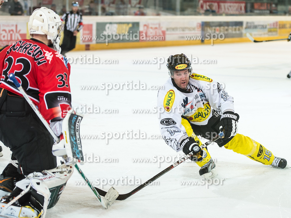 09.09.2012, Tiroler Wasserkraft Arena, Innsbruck, AUT, EBEL, HC TWK Innsbruck vs EC Dornbirn, 02. Runde, im Bild Patrick Machreich, (HC TWK Innsbruck, # 33) und Daniel Bois, (EC Dornbirn, #15) // during the Erste Bank Icehockey League 2nd Round match between HC TWK Innsbruck and EC Dornbirn at the Tiroler Wasserkraft Arena, Innsbruck, Austria on 2012/09/09. EXPA Pictures © 2012, PhotoCredit: EXPA/ Eric Fahrner