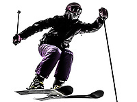 one  woman skier skiing jumping in silhouette on white background