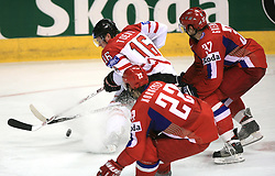 Jonathan Toews (16) of Canada vs Konstantin Korneyev (22) of Russia and Denis Grebeshkov (37) of Russia at  ice-hockey game Canada vs Russia at finals of IIHF WC 2008 in Quebec City,  on May 18, 2008, in Colisee Pepsi, Quebec City, Quebec, Canada. Win of Russia 5:4 and Russians are now World Champions 2008. (Photo by Vid Ponikvar / Sportal Images)