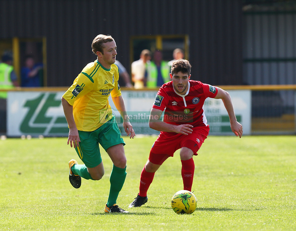 August 28, 2017 - London, United Kingdom - L-R George Winn  of Thurrock FC holds of Rob Evans of Billericay Town.during Bostik League Premier Division match between Thurrock vs Billericay Town at  Ship Lane Ground, Aveley on 28 August 2017  (Credit Image: © Kieran Galvin/NurPhoto via ZUMA Press)