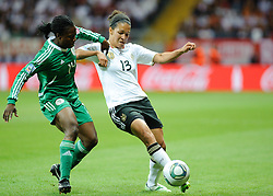 30.06.2011, Commerzbank-Arena, Frankfurt, GER, FIFA Women Worldcup 2011, GRUPPE A, Deutschland (GER) vs. Nigeria (NGR) , im Bild Faith IKIDI (NGA #14,Pitea SWE)  im Zweikampf mit Celia Okoyino a Mbabi (Deutschland #13, Bad Neuenahr) // during the FIFA Women Worldcup 2011, Pool A, Germany vs. Nigeria on 2011/06/30, Commerzbank-Arena, Frankfurt, Germany. EXPA Pictures © 2011, PhotoCredit: EXPA/ nph/  Roth       ****** out of GER / CRO  / BEL ******
